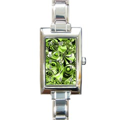 Retro Green Abstract Rectangular Italian Charm Watch by StuffOrSomething