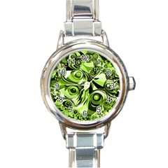Retro Green Abstract Round Italian Charm Watch by StuffOrSomething