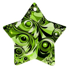 Retro Green Abstract Star Ornament by StuffOrSomething