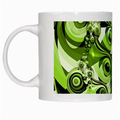 Retro Green Abstract White Coffee Mug by StuffOrSomething