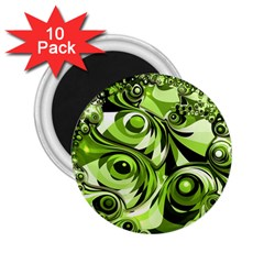 Retro Green Abstract 2 25  Button Magnet (10 Pack) by StuffOrSomething