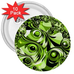Retro Green Abstract 3  Button (10 Pack) by StuffOrSomething
