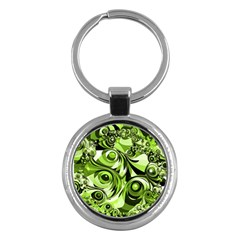 Retro Green Abstract Key Chain (round) by StuffOrSomething