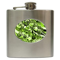Retro Green Abstract Hip Flask by StuffOrSomething
