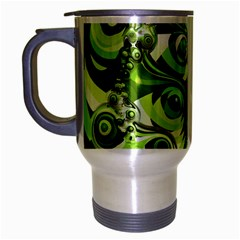 Retro Green Abstract Travel Mug (silver Gray) by StuffOrSomething