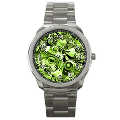 Retro Green Abstract Sport Metal Watch by StuffOrSomething