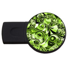 Retro Green Abstract 4gb Usb Flash Drive (round) by StuffOrSomething