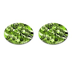 Retro Green Abstract Cufflinks (oval) by StuffOrSomething