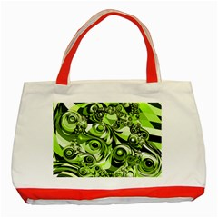 Retro Green Abstract Classic Tote Bag (red) by StuffOrSomething