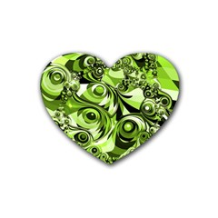 Retro Green Abstract Drink Coasters 4 Pack (heart)  by StuffOrSomething