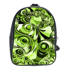 Retro Green Abstract School Bag (large) by StuffOrSomething