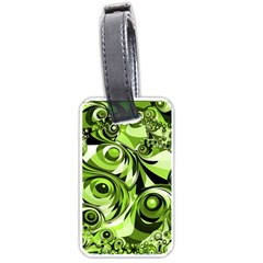 Retro Green Abstract Luggage Tag (two Sides) by StuffOrSomething