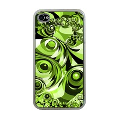 Retro Green Abstract Apple Iphone 4 Case (clear) by StuffOrSomething