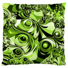 Retro Green Abstract Large Cushion Case (single Sided)  by StuffOrSomething