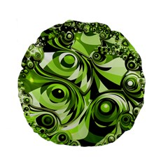 Retro Green Abstract 15  Premium Round Cushion  by StuffOrSomething