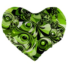 Retro Green Abstract 19  Premium Heart Shape Cushion by StuffOrSomething