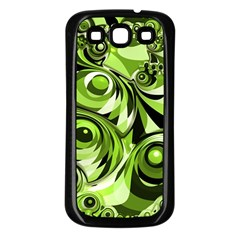 Retro Green Abstract Samsung Galaxy S3 Back Case (black) by StuffOrSomething