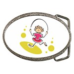 Girl Jumping Rope Belt Buckle