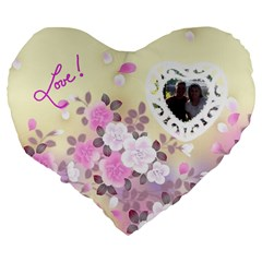 Love 19  Cushion By Joy Johns   Large 19  Premium Heart Shape Cushion   Ak4t5g6vc4ik   Www Artscow Com Back