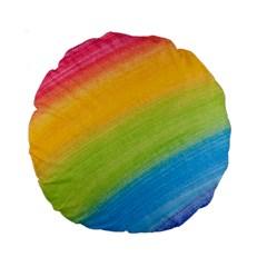 Acrylic Rainbow 15  Premium Round Cushion  by StuffOrSomething