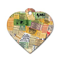 Retro Concert Tickets Dog Tag Heart (two Sided) by StuffOrSomething