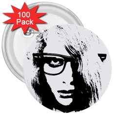 Hipster Zombie Girl 3  Button (100 Pack) by chivieridesigns