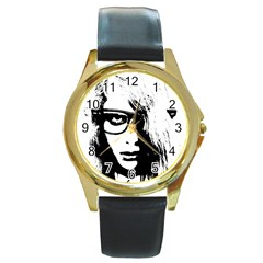 Hipster Zombie Girl Round Leather Watch (gold Rim)  by chivieridesigns