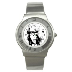 Hipster Zombie Girl Stainless Steel Watch (slim) by chivieridesigns