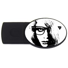 Hipster Zombie Girl 4gb Usb Flash Drive (oval) by chivieridesigns