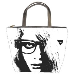 Hipster Zombie Girl Bucket Handbag by chivieridesigns