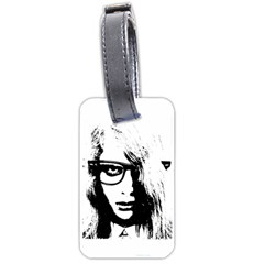 Hipster Zombie Girl Luggage Tag (two Sides) by chivieridesigns