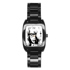 Hipster Zombie Girl Stainless Steel Barrel Watch by chivieridesigns