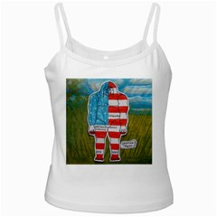 Painted Flag Big Foot Austral White Spaghetti Tank by creationtruth