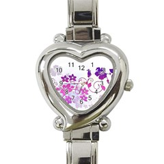 Floral Garden Heart Italian Charm Watch  by Colorfulart23