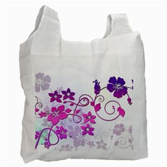 Floral Garden White Reusable Bag (one Side) by Colorfulart23
