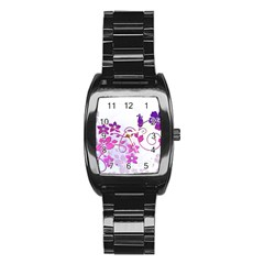 Floral Garden Stainless Steel Barrel Watch by Colorfulart23