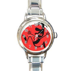 Running Man Round Italian Charm Watch by StuffOrSomething