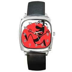 Running Man Square Leather Watch by StuffOrSomething