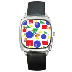 Random Geometrics Square Leather Watch