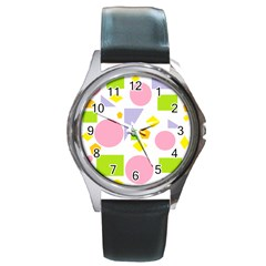Spring Geometrics Round Leather Watch (silver Rim) by StuffOrSomething