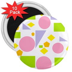Spring Geometrics 3  Button Magnet (10 Pack) by StuffOrSomething