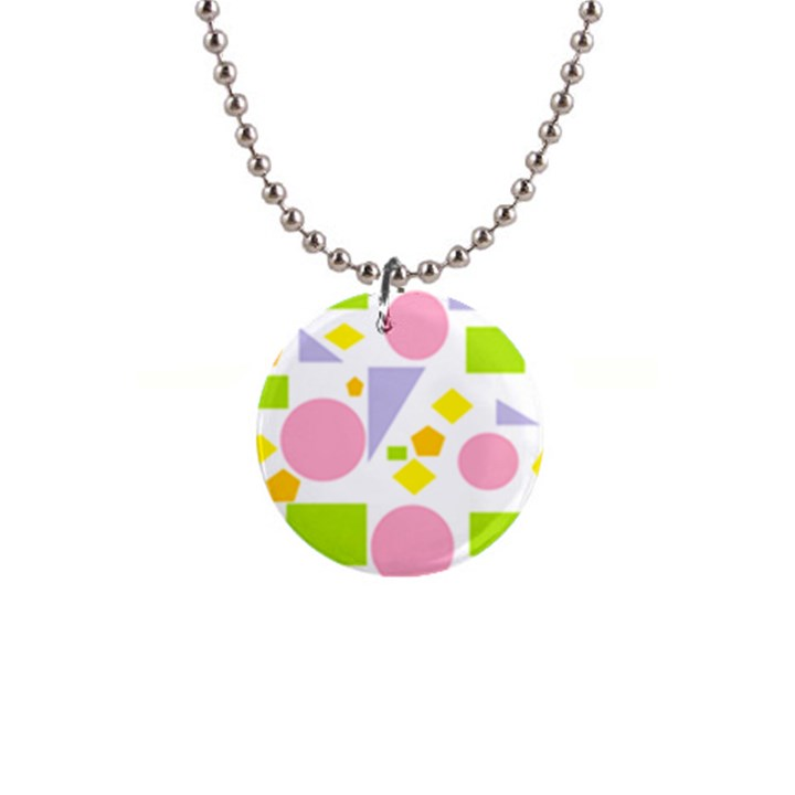 Spring Geometrics Button Necklace