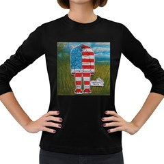Painted Flag Big Foot Homo Erec Women s Long Sleeve T Shirt (dark Colored) by creationtruth