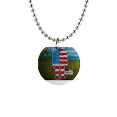 Painted Flag Big Foot Homo Erec Button Necklace by creationtruth