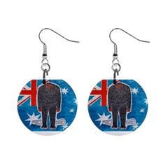 Big Foot H,australia Flag Mini Button Earrings