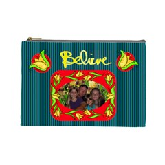 Believe Large Cosmetic Bag By Joy Johns   Cosmetic Bag (large)   Lu4k2unlr52b   Www Artscow Com Front