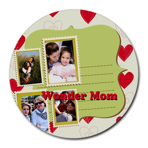 Mothers Day By Mom   Round Mousepad   9iiomjpj9sq1   Www Artscow Com Front