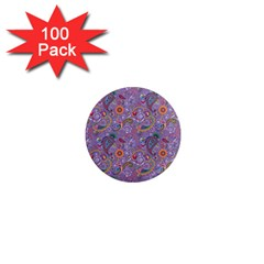 Purple Paisley 1  Mini Button Magnet (100 Pack) by StuffOrSomething