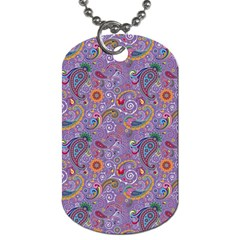 Purple Paisley Dog Tag (two Sided)  by StuffOrSomething