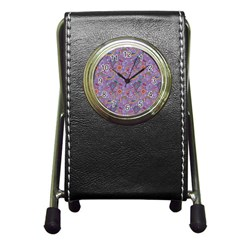 Purple Paisley Stationery Holder Clock by StuffOrSomething